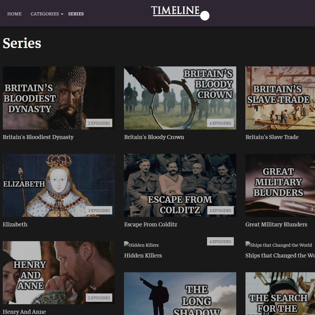 Series page from the Timeline website with free documentary series: Britain's Bloodiest Dynasty, Britain's Bloody Crown and a few more.