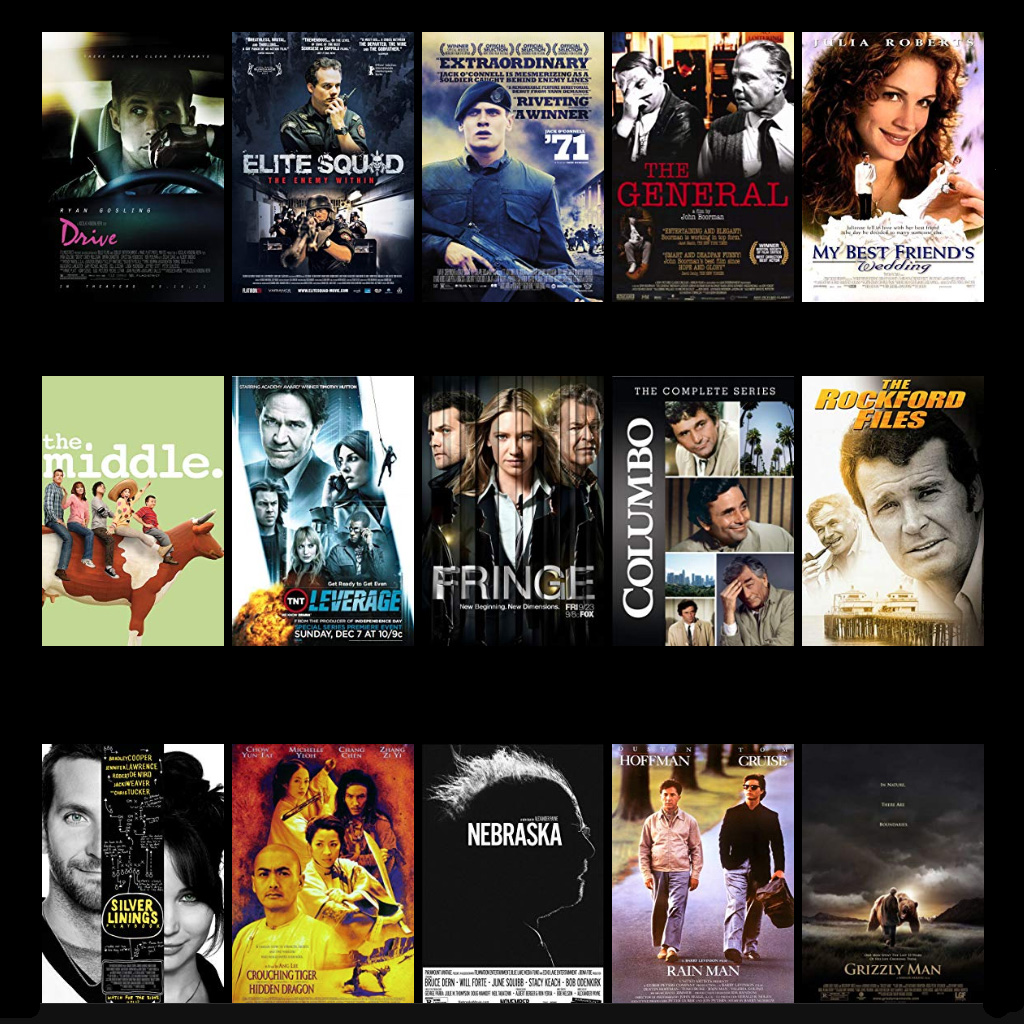 Showing some free movie selections from the IMDb website. Drive, Elite Squad, 71, The General, Silver Linings Playbook, Nebraska, Rainman and a few others.