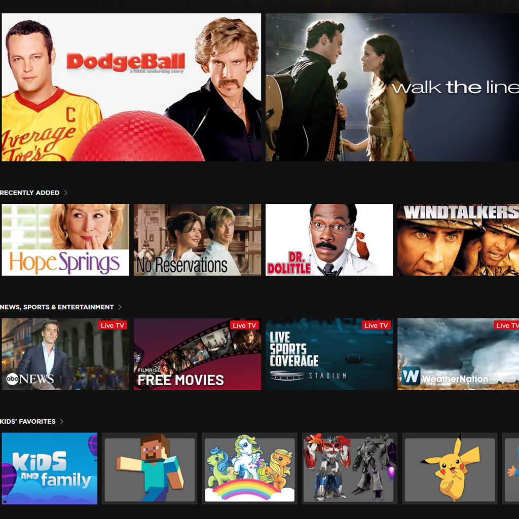 Free movies from The Roku Channel, Dodgeball and Walk the line are featured, then Hope Springs, No Reservations, Dr Dolittle, Windtalkers and a handful others.