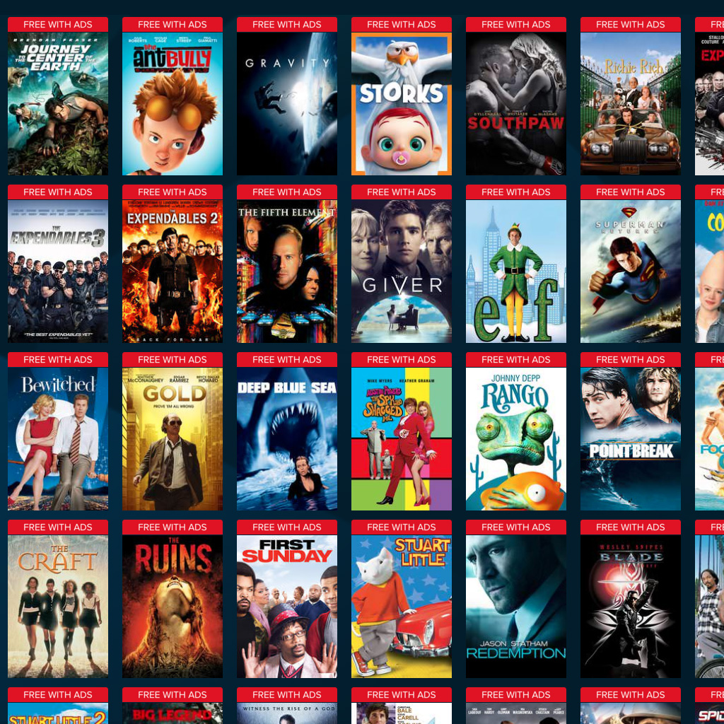 This shows free movies from Vudu, there is Journey to the Center of the Earth, Ant Bully, Gravity, Storks and a lot more.