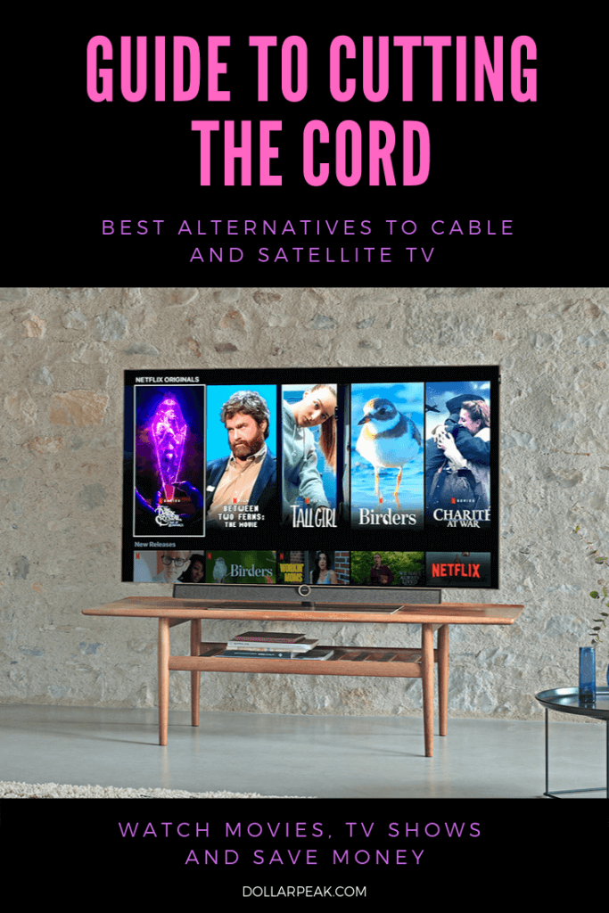 Guide to cutting the cord banner and an image of a flat screen tv on a media console with netflix shows.