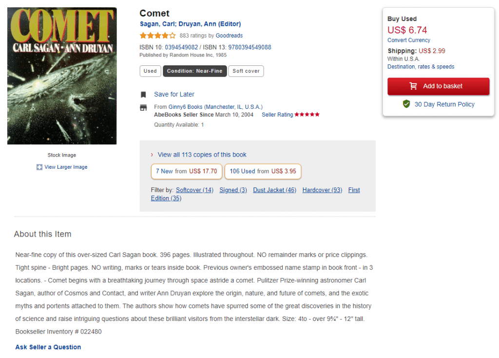 A screenshot of Comet book details from AbeBooks.
