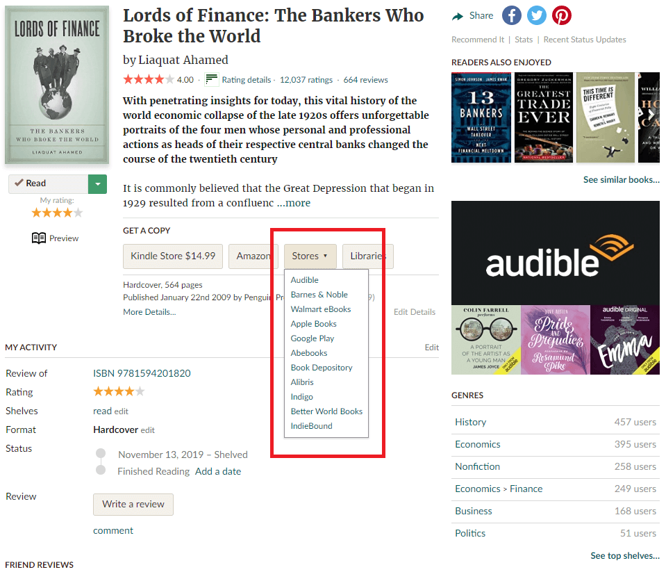 Screenshot of the book details from goodreads.com highlighting the stores button that lets you see where the book is available.