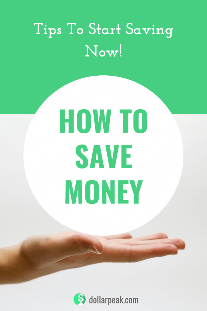 A graphics showing a hand holding up a circle with a title: how to save money.